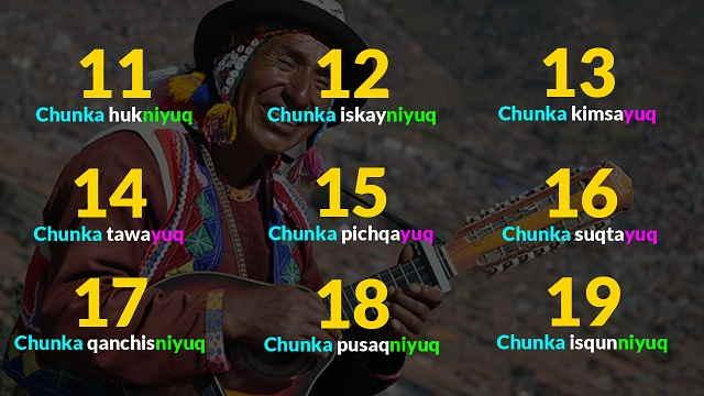 numeros del 11 - 19 quechua