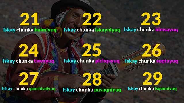 numeros del 21 - 29 quechua